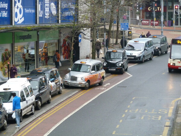The photo for Castle Street Cycle Lane - Taxi parking.